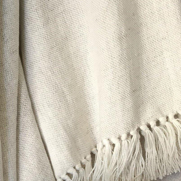 Linen/Cotton Throw with Tassels in Navy or Natural