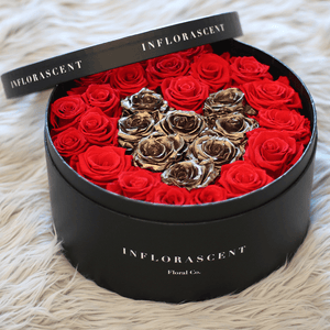 Red HEART IN A BOX w/ Gold Roses | Infinity Ring