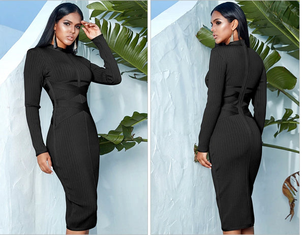 Bodycon Turtleneck Bandage Midi Sheath Dress