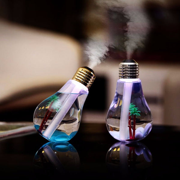 Desk top light bulb cool mist essential oil diffuser