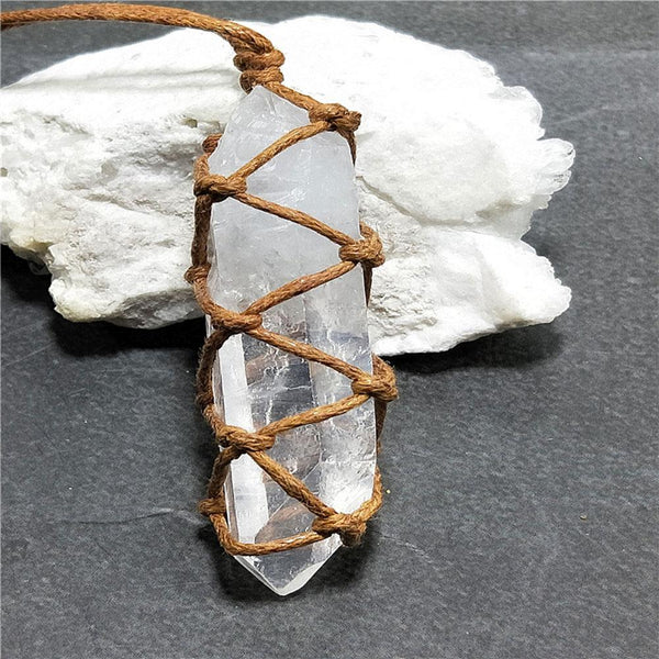 Natural Clear Quartz Pendant Rope Necklace