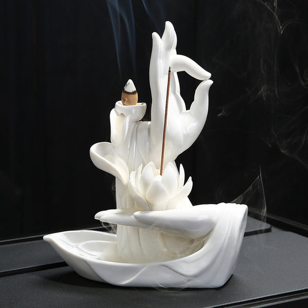 Backflow Buddha Hand Lotus Ceramic Incense Burner