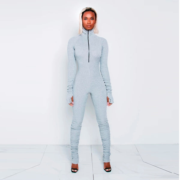 Casual Sport Mock Neck Jumpsuit with Thumb Loops