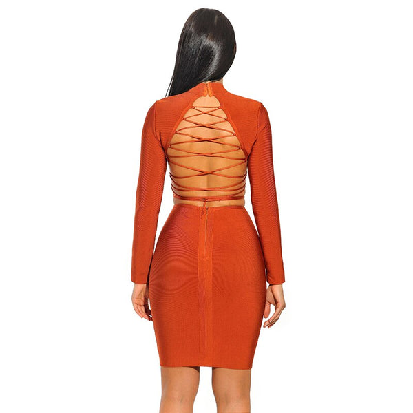 Full Sleeve Lack Up Backless Cocktail Dress