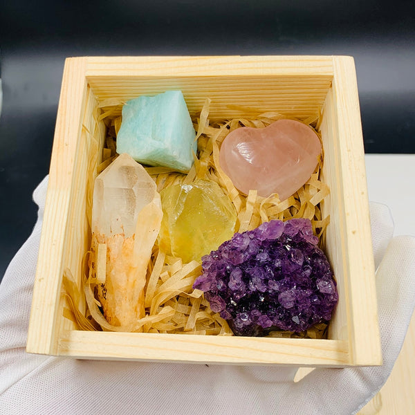 Natural Stone Yoga Gift Set. Rose and Clear Quartz, Amazon, Citrine and Amethyst