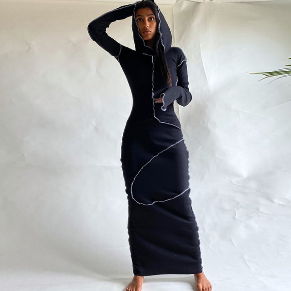 Maxi Patchwork Dress with Hood