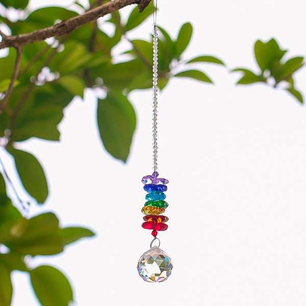 Chakra Crystal Sun Catcher with Chandelier Crystal Ball Prism - 2D Selections