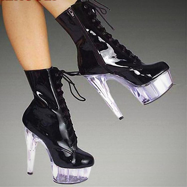 Pole Dance Vinyl Boots with Clear Acrylic Platform/Heel - 2D Selections