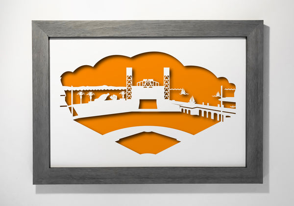 San Francisco Giants baseball AT&T park papercut 3D artwork make a unique gift for wedding anniversary going away birthday office home decor Christmas corporate Valentine's Easter