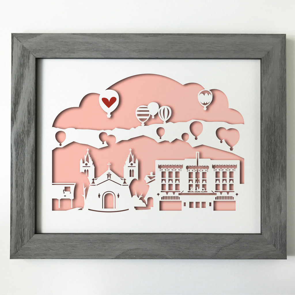 Albuquerque New Mexico with hot air balloons city skyline cityscape papercut 3D artwork makes a unique gift for wedding anniversary going away birthday office home decor Christmas corporate Valentine's Easter