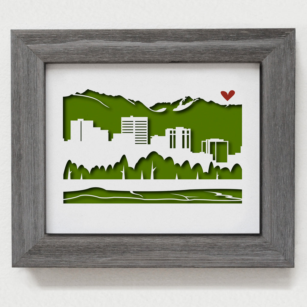 Anchorage Chugach Mountain city skyline cityscape papercut 3D artwork makes a unique gift idea for him or her