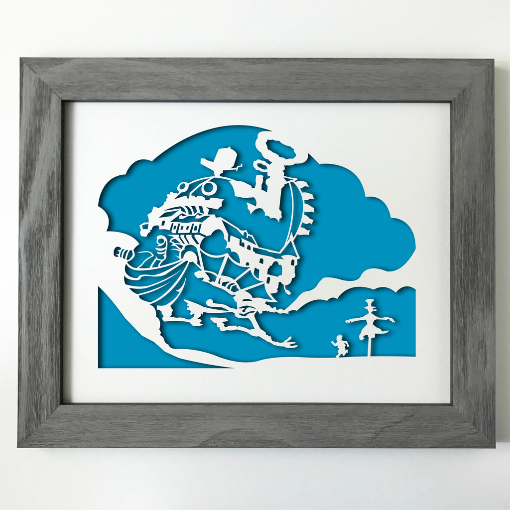 "HMC Anime decor - 11x14"" papercut artwork"