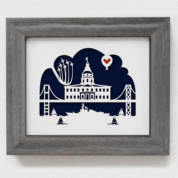 Annapolis Maryland city skyline cityscape papercut 3D artwork make a unique gift for wedding anniversary going away birthday office home decor Christmas corporate Valentine's Easter