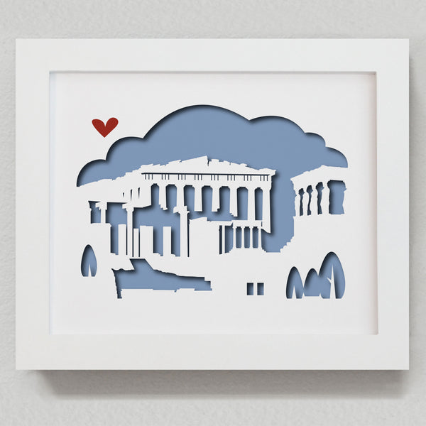 Athens Greece Parthenon acropolis city skyline cityscape papercut 3D artwork make a unique gift for wedding anniversary going away birthday office home decor Christmas corporate Valentine's Easter