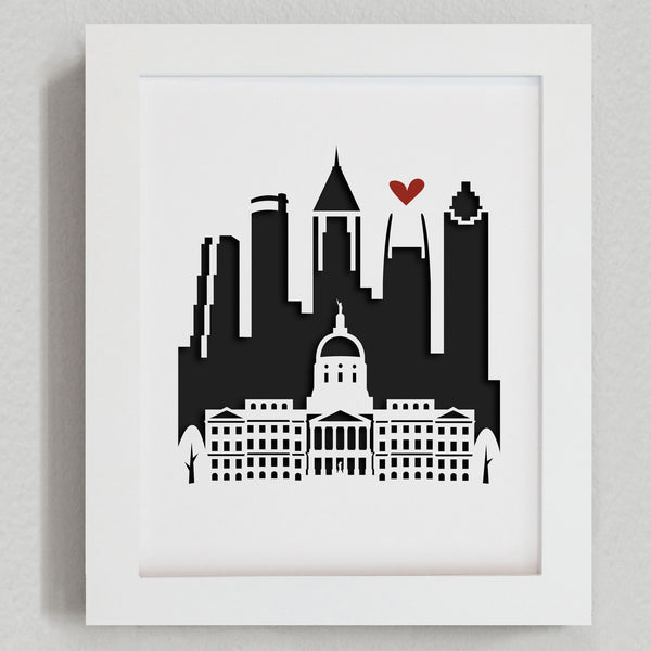 Atlanta city skyline cityscape papercut 3D artwork make a unique gift for wedding anniversary going away birthday office home decor Christmas corporate Valentine's Easter