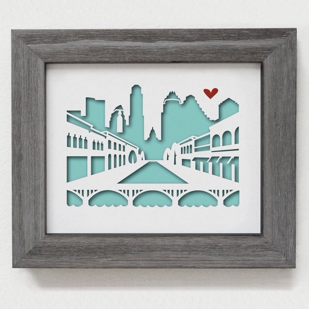 Austin 6th street city skyline cityscape papercut 3D artwork make a unique gift for wedding anniversary going away birthday office home decor Christmas corporate Valentine's Easter