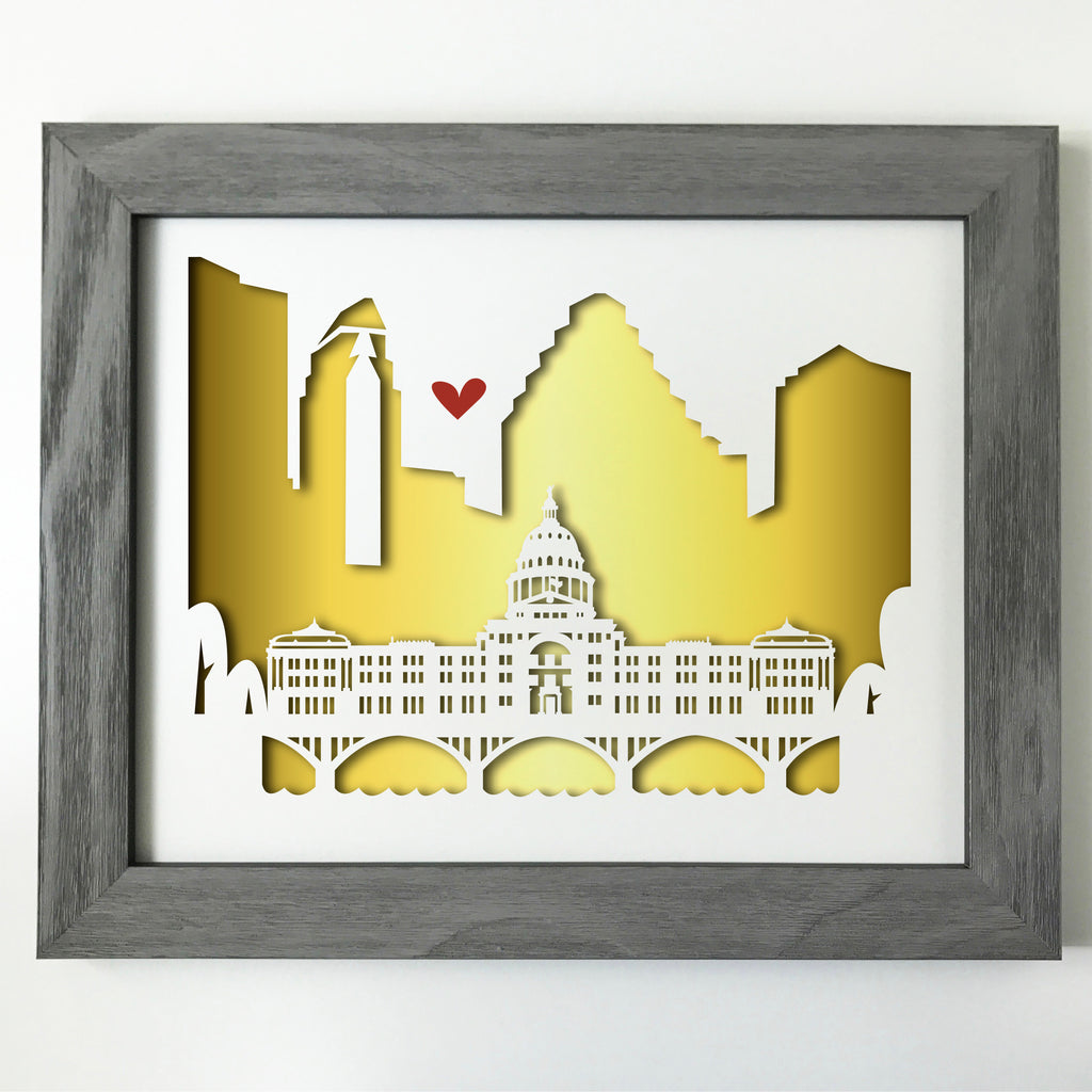 Austin Capitol city skyline cityscape papercut 3D artwork make a unique gift for wedding anniversary going away birthday office home decor Christmas corporate Valentine's Easter gold foil