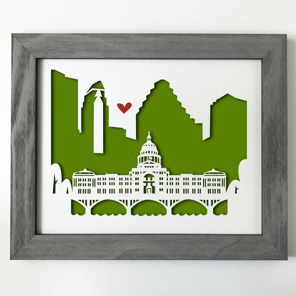 Austin Capitol city skyline cityscape papercut 3D artwork make a unique gift for wedding anniversary going away birthday office home decor Christmas corporate Valentine's Easter