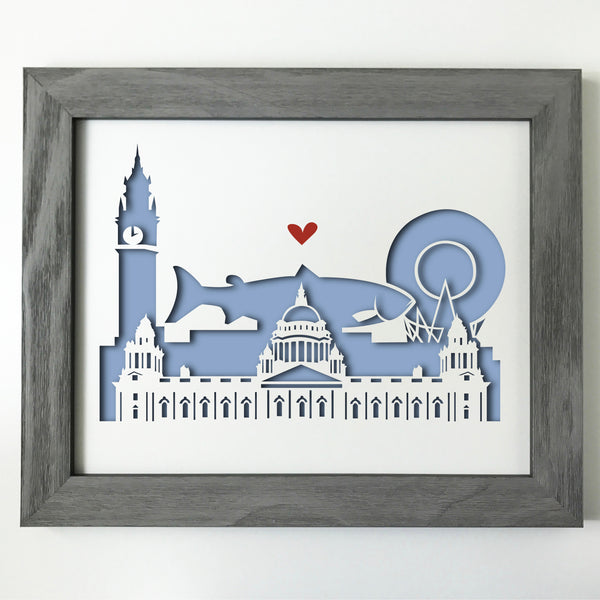 Belfast city skyline cityscape papercut 3D art makes a unique gift for wedding anniversary going away birthday office home decor Christmas corporate Valentine's Easter