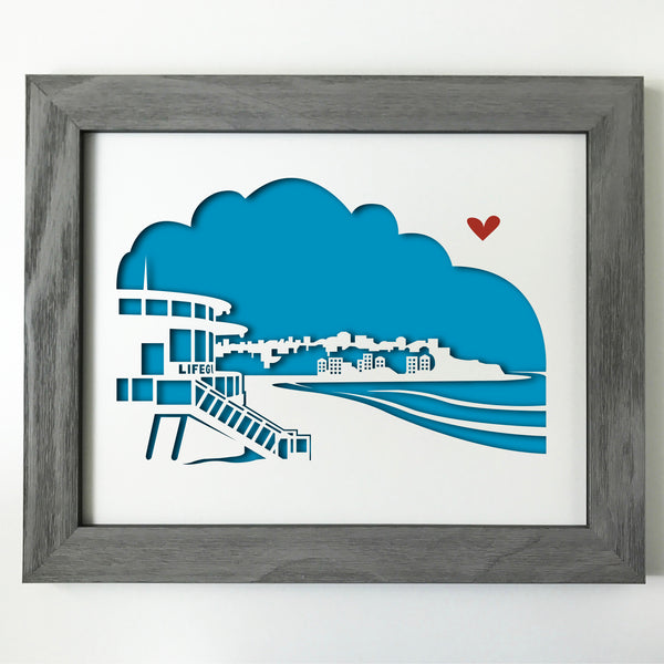 Bondi Beach with Ben Buckler city skyline cityscape papercut 3D art makes a unique gift for wedding anniversary going away birthday office home decor Christmas corporate Valentine's Easter