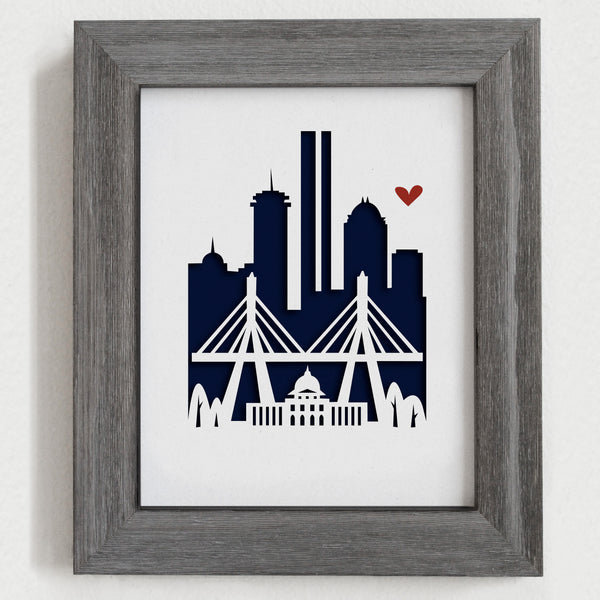 Boston city skyline cityscape papercut 3D art makes a unique gift for wedding anniversary going away birthday office home decor Christmas corporate Valentine's Easter
