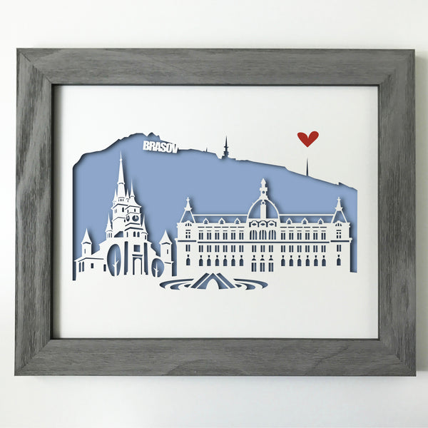 Brasov city skyline cityscape papercut 3D art makes a unique gift for wedding anniversary going away birthday office home decor Christmas corporate Valentine's Easter