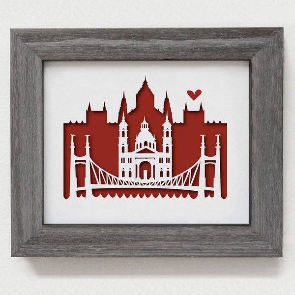 Budapest city skyline cityscape papercut 3D art makes a unique gift for wedding anniversary going away birthday office home decor Christmas corporate Valentine's Easter