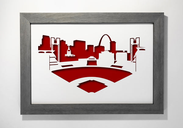 St. Louis Cardinals Busch Stadium ballpark redbirds baseball papercut 3D art makes a unique gift for wedding anniversary going away birthday office home decor Christmas corporate Valentine's Easter