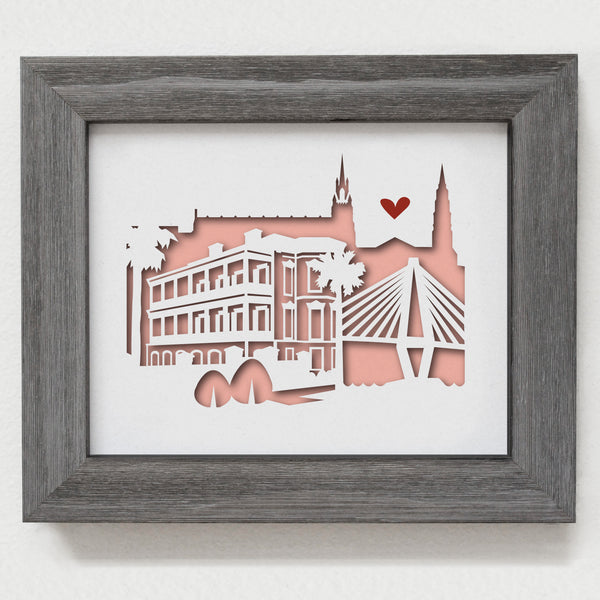 Charleston city skyline cityscape papercut 3D art makes a unique gift for wedding anniversary going away birthday office home decor Christmas corporate Valentine's Easter
