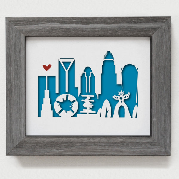 Charlotte city skyline cityscape papercut 3D art makes a unique gift idea for wedding anniversary going away birthday office home decor Christmas corporate Valentine's Easter