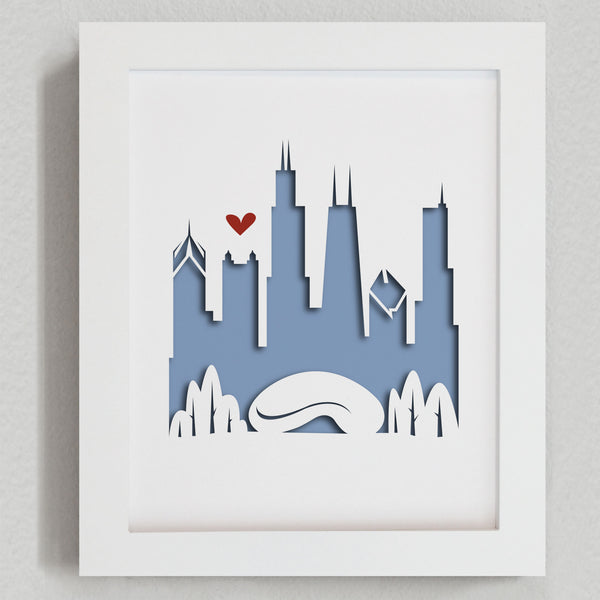 Chicago city skyline cityscape papercut 3D art makes a unique gift idea for wedding anniversary going away birthday office home decor Christmas corporate Valentine's Easter