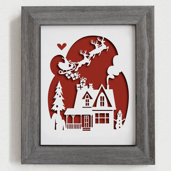 Christmas Papercut Artwork - 8x10""