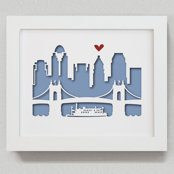 "Cincinnati - 8x10"" cut-out - papercut city"