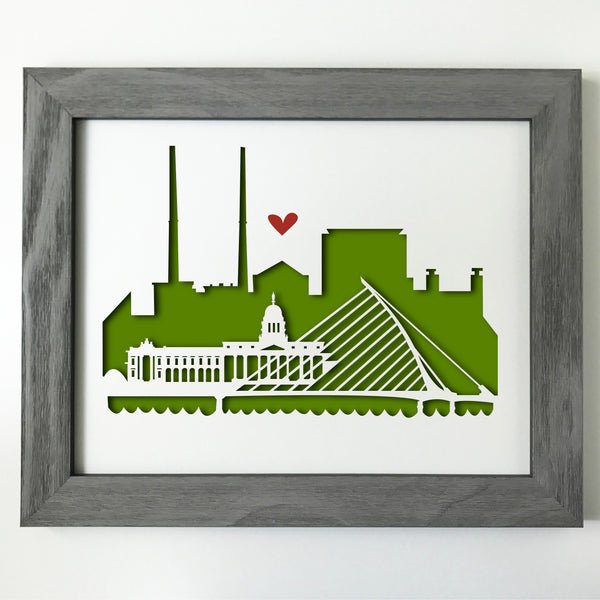 Dublin, Ireland Papercut artwork - 11x14""