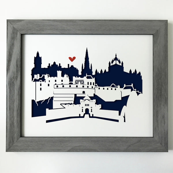 Edinburgh, Scotland Papercut artwork - 11x14""