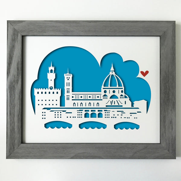 Florence, Italy Papercut artwork - 11x14""