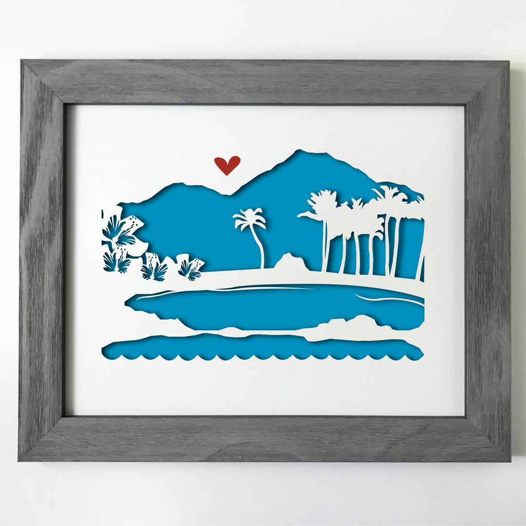 Maui, Hawaii Papercut artwork - 11x14""