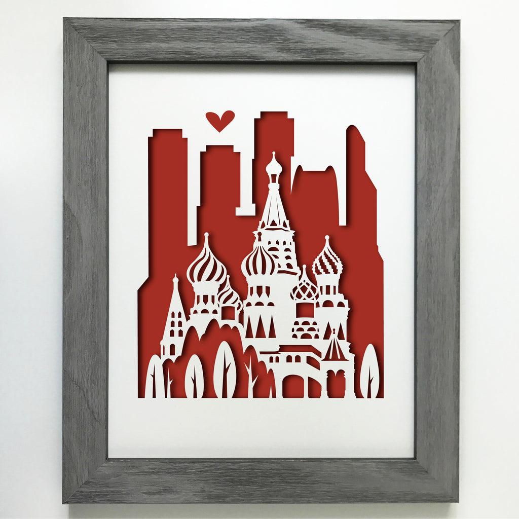 Moscow, Russia Papercut artwork - 11x14""