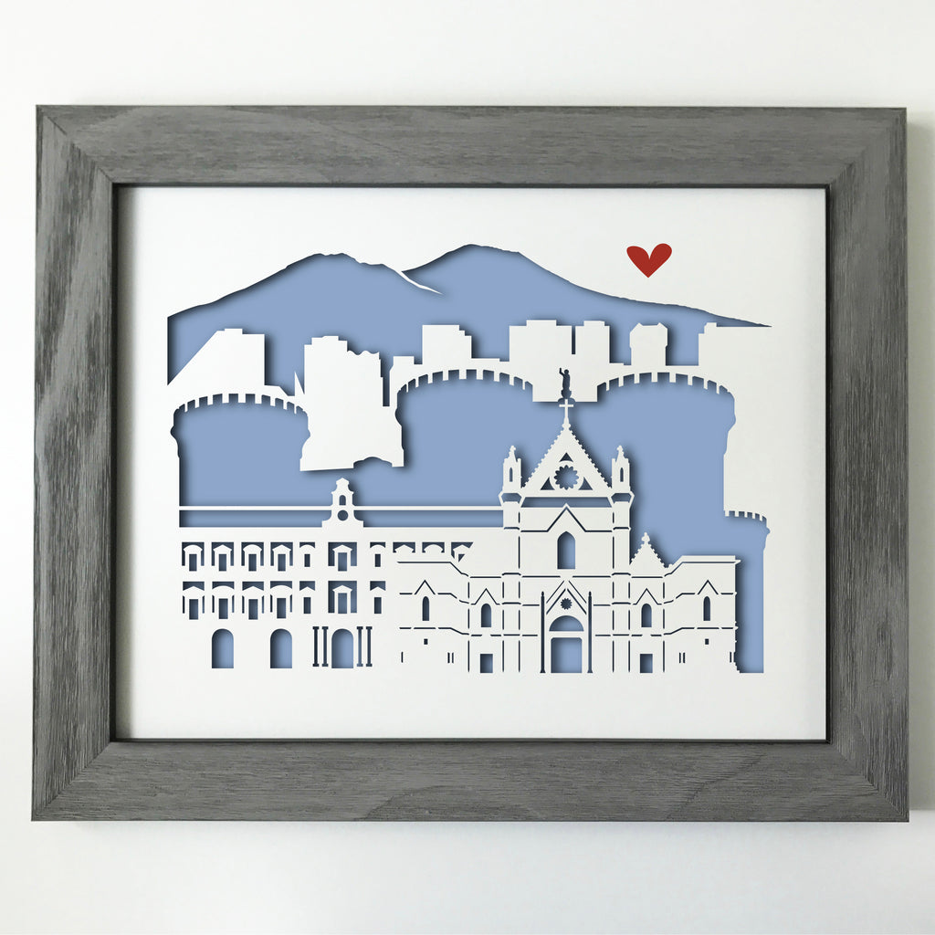 "Naples (Napoli), Italy - 11x14"" papercut artwork"