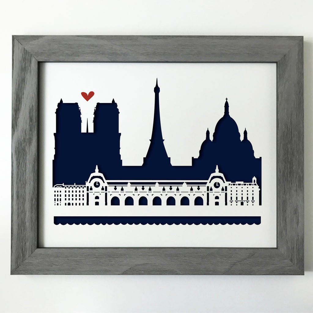 Paris, Musee d'Orsay Papercut artwork - 11x14""