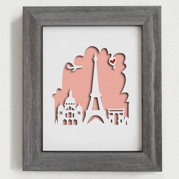 "Paris - 8x10"" cut-out - papercut city"