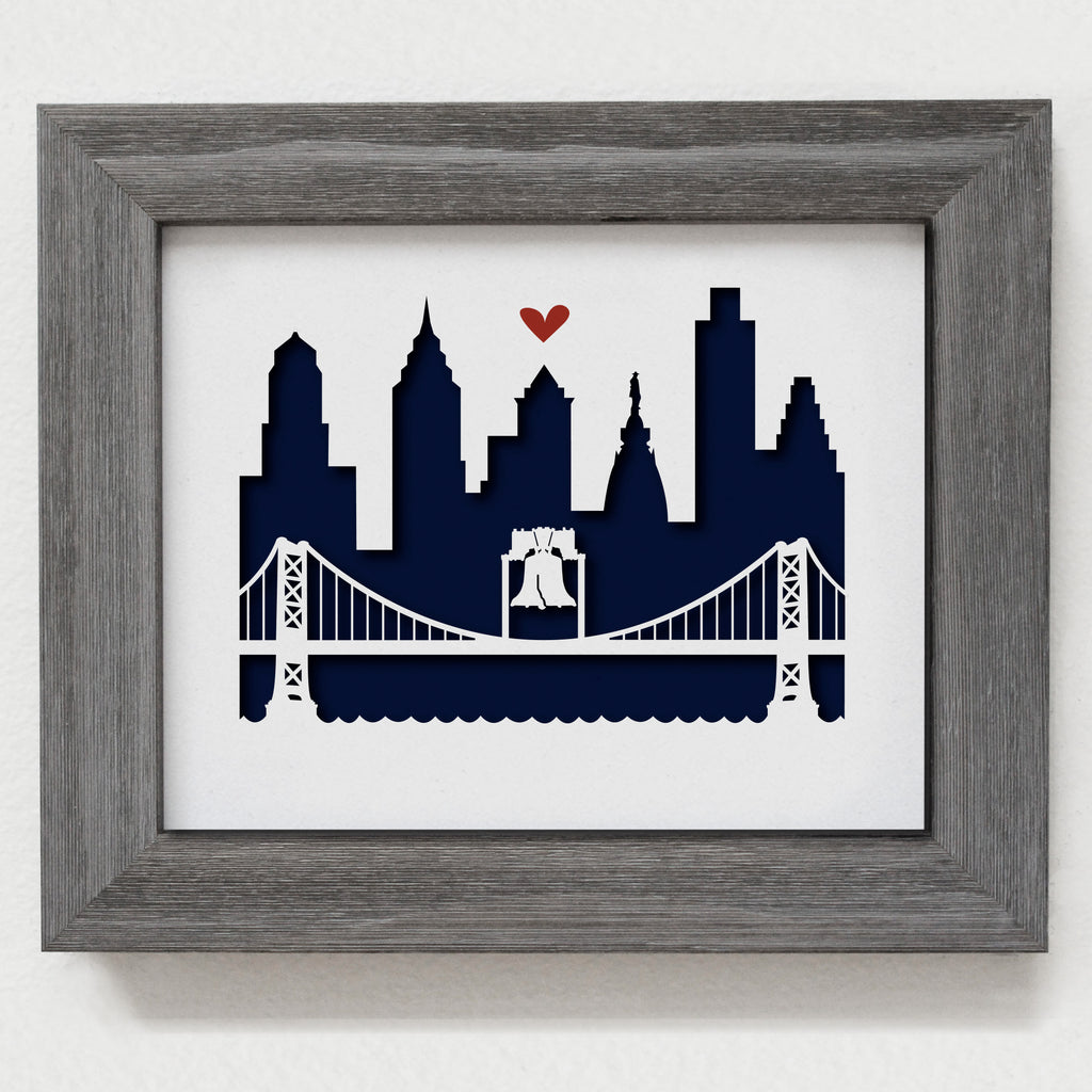 "Philadelphia (Ben Franklin Bridge) - 8x10"" cut-out"