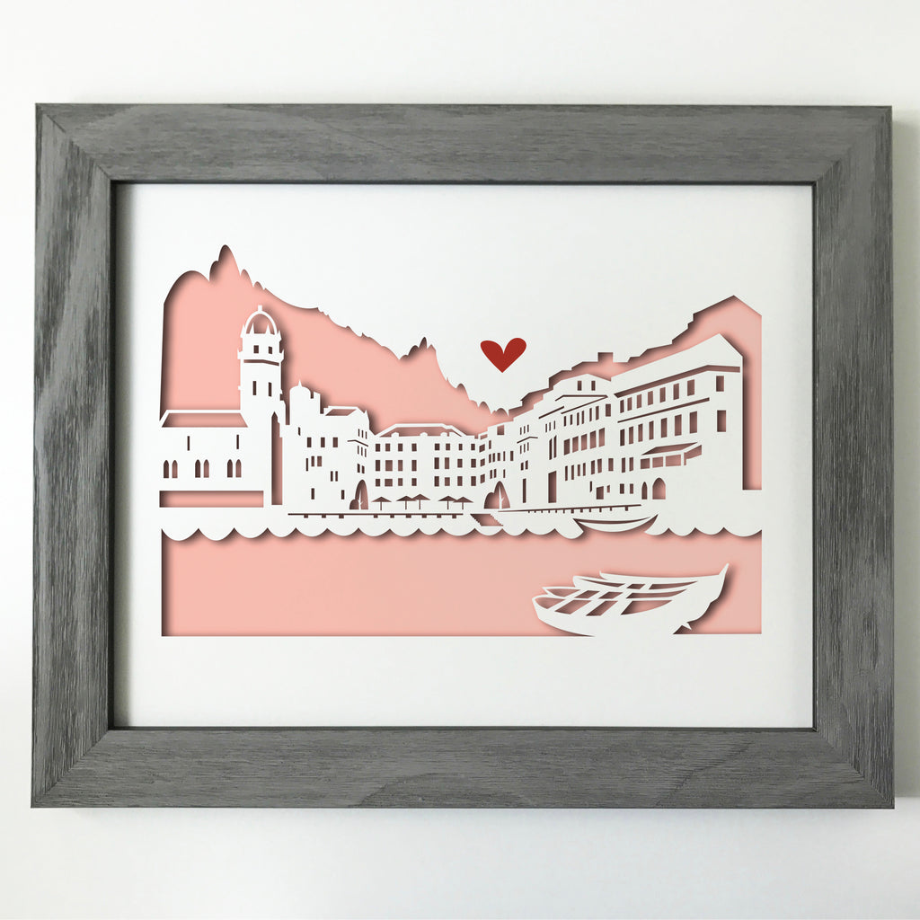 Vernazza, Italy Papercut artwork - 11x14""
