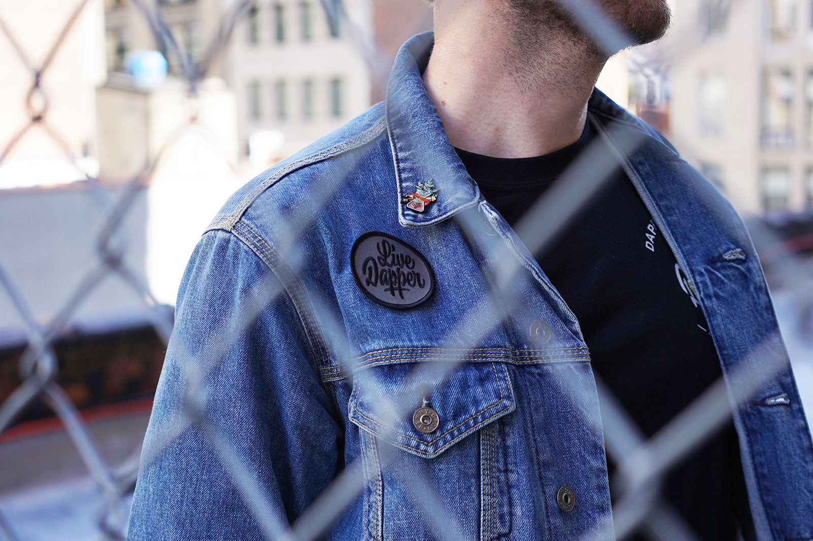 Benny Gold denim jacket with Dapper notes patch