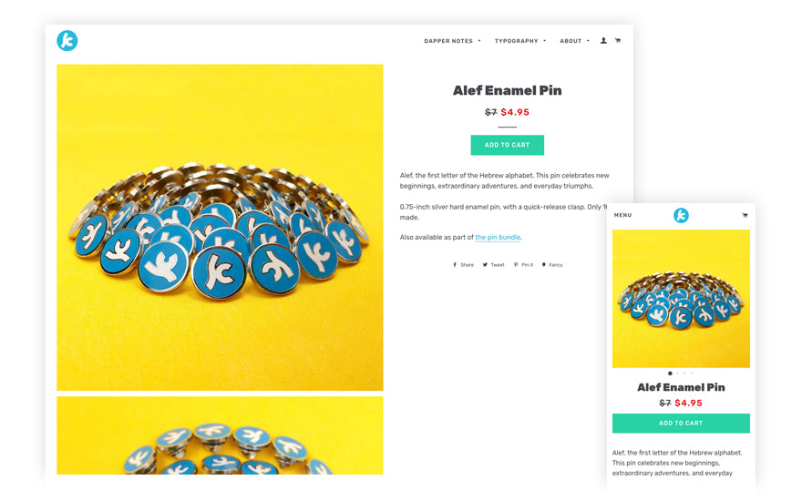 example of images on product page