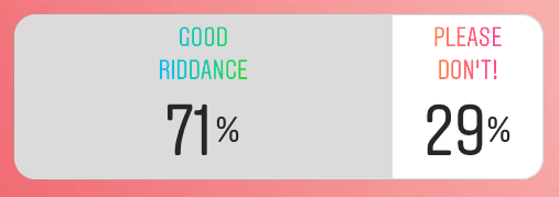 Poll results: 71% voted Good Riddance, 29% voted Please Don't