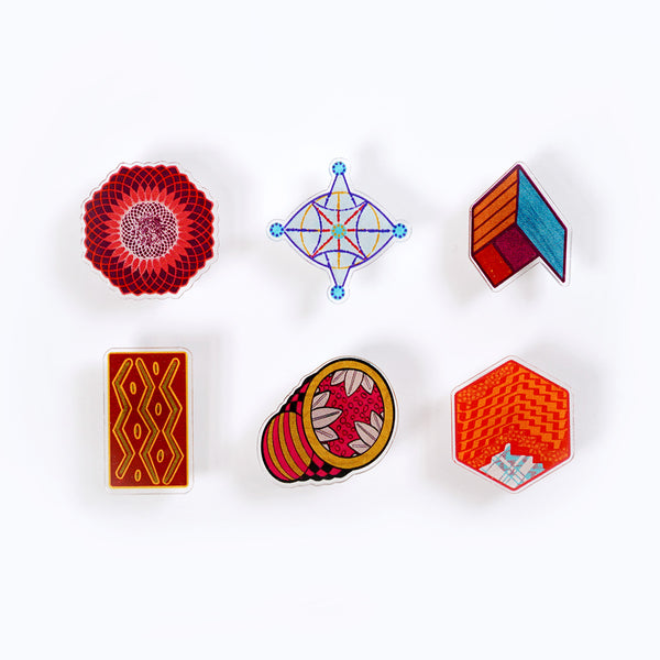 acrylic pin set - caribbean inspired patterns