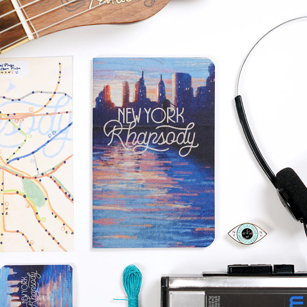 new york rhapsody film poster notebook with walkman and hoodzpah pin