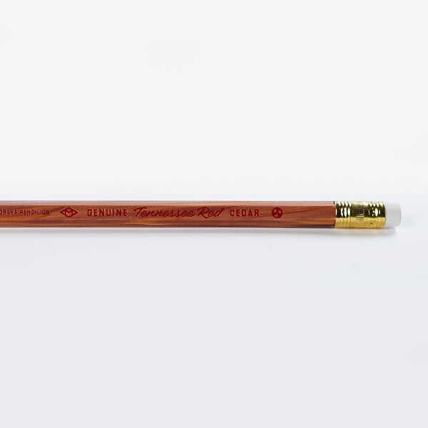 Vloseup of the text on a Musgrave Tennessee Red Cedar pencil