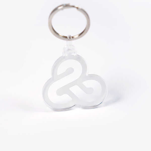infinity ampersand acrylic keychain, with white ink on a clear plastic